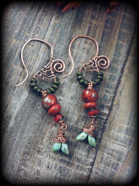 """Indianerschmuck - """"Timbia"""",Kupferohrringe,rot türkis grün,Bronze - ein Designerstück von EgoDeco bei DaWanda"""