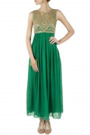 Emerald green embroidered maxi