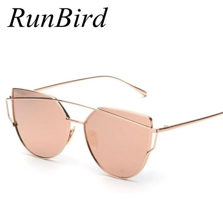 RunBird 2016 Nuevo Ojo de Gato gafas de Sol de Las Mujeres Diseñador de la Marca de Moda de Doble Vigas de Oro Rosa Espejo Cateye Gafas de Sol Para mujer UV400