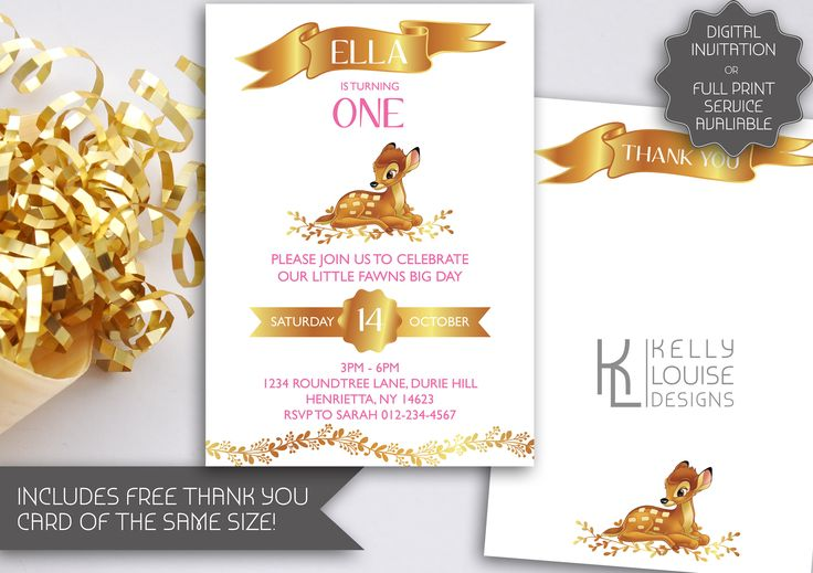 Gold Bambi Baby Shower Invitation | Printable Invitation | Bambi | Disney Classic | Free Thank You Card | A little deer is almost here (034) by kellylouisedesigns on Etsy