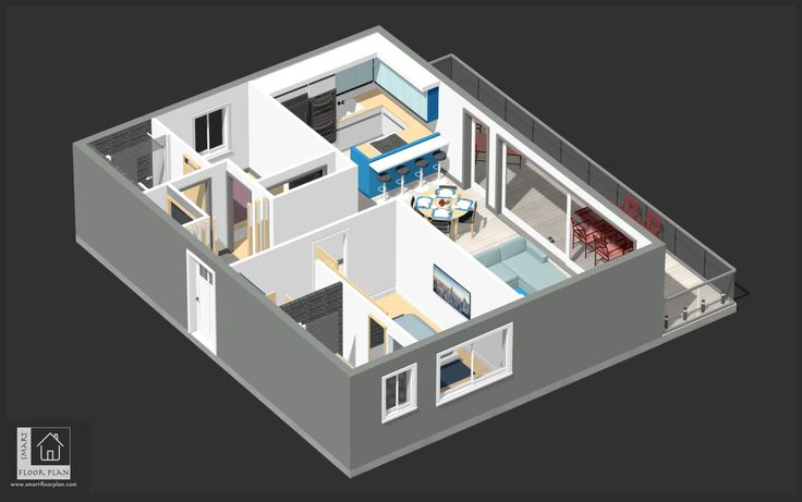 3D Floor Plan view at Kinsale Apartment, Ireland. By https://www.smart-floorplan.com