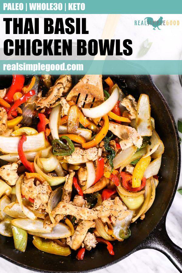 Thai Basil Chicken Bowls (Paleo, Whole30 + Keto)