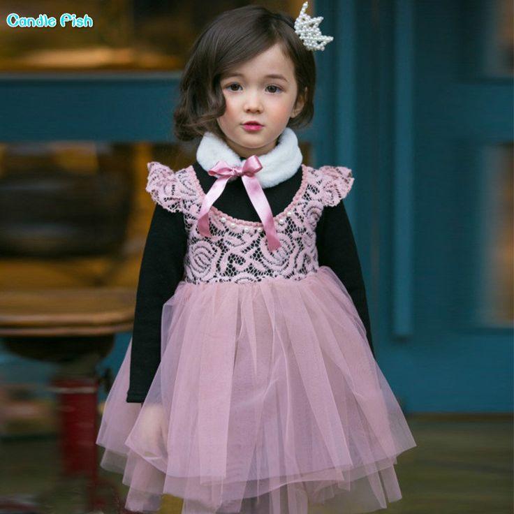 2017 autumn new children's princess dress girl long-sleeved dress thick plus velvet children lace dress