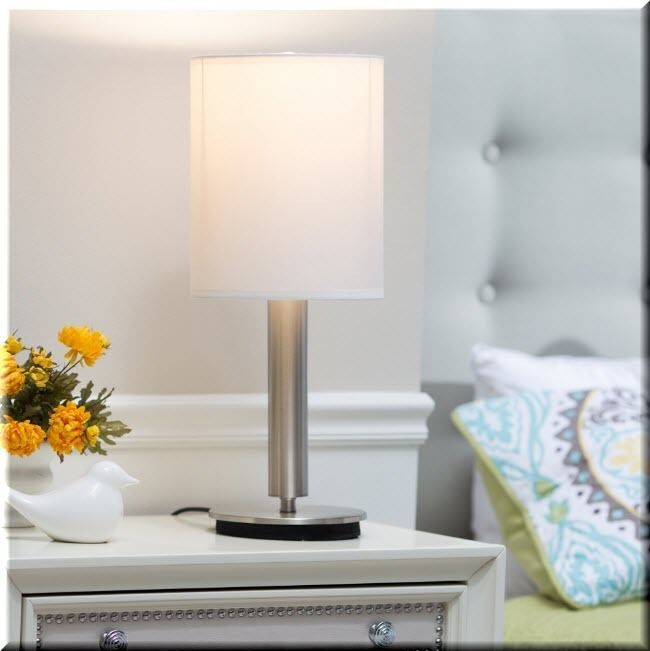 Nightstand Table Lamp Touch Modern Metal Pole Base White Bedroom Decor  | eBay