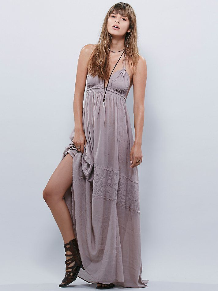 Endless Summer Triangle Top Maxi | Made from our sheer and gauzy Endless Summer fabric, this cotton voile maxi dress features a triangle top and halter neck ties and tie back. Dotted mesh detailing around middle of skirt portion. Hi-low hem. Throw on top of a bikini or layer over one of our seamless styles for an effortless look.   *Endless Summer     *Gauzy, sheer silhouettes for effortless layering under the sun. Whether you live the beach lifestyle year-round or dream of making the great…