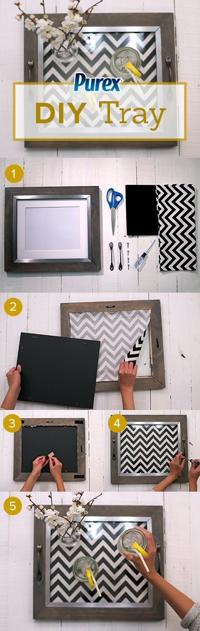 Repurpose old printed clothes and picture frames into your own DIY serving tray.