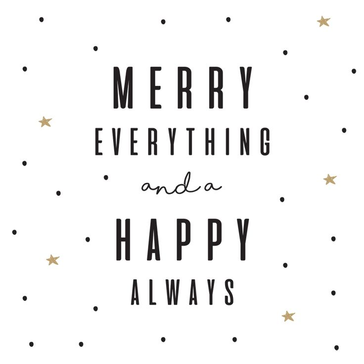 Kerst kaart | Merry everything and a Happy always  Formaat: vierkant 9.8 x 9.8 cm Papier: 300 grams Sirio Pearl Polar Dawn* Kleur: wit met goud en zwart Inclusief witte envelop Merk: Kekootje  * Deze  papiersoort heeft een parelmoer effect en geeft een su -