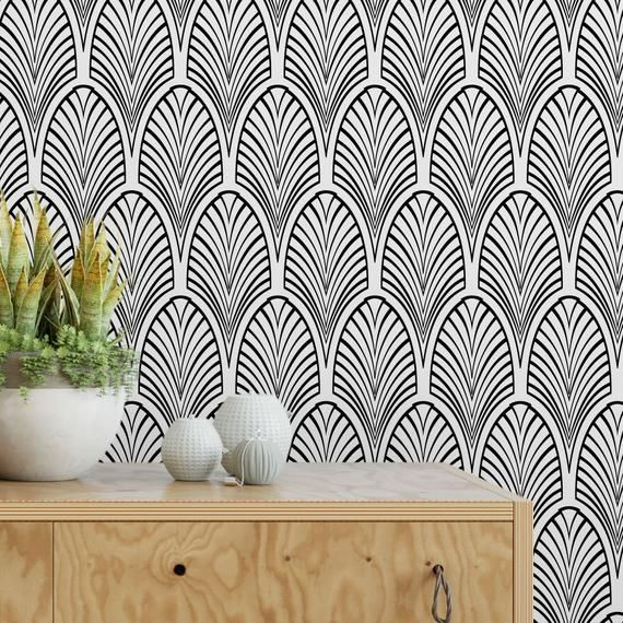Wallpaper With Scallop Pattern Black And White Removable Wallpaper Peel And Stick Wallpaper With Scallop Pattern Monochrome Wallpaper Removable Wallpaper Scandinavian Wallpaper Monochrome Wall