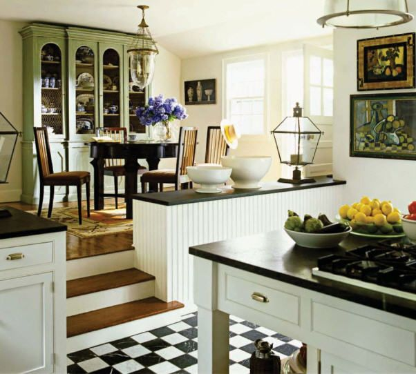 Checkered Kitchen Floor: Cozy Kitchen, Checkerboard Floor And Black And