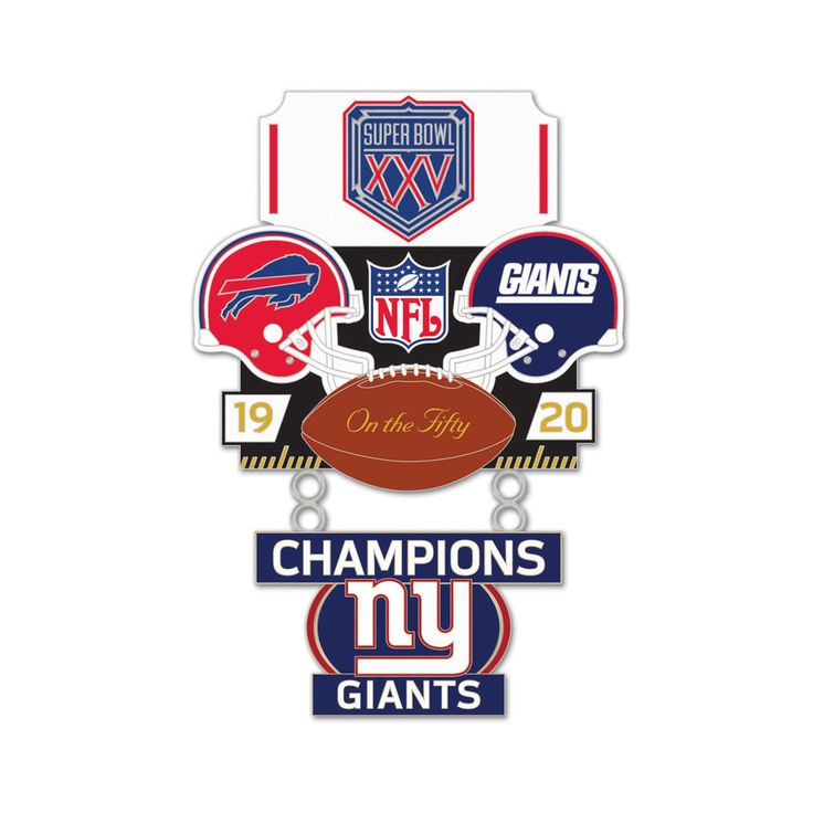 Super Bowl XXV (25) Bills vs. Giants Champion Lapel Pin - Sunset Key Chains-great gift for the football fan with shipping included