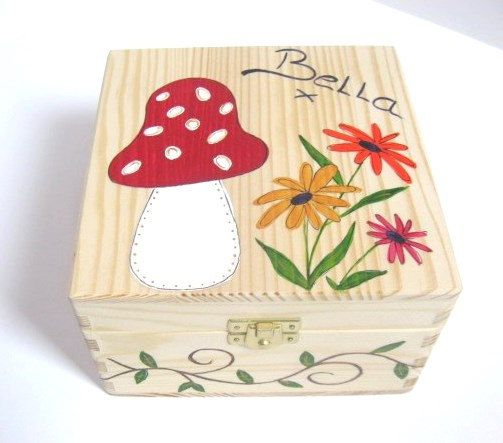 Wooden Memory Box - Girls Personalised, Hand Painted Wooden Memory Box /Keepsake Box, Medium Size with Funky Toadstool and Flower Design.
