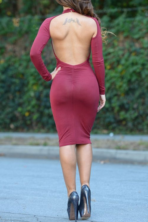 Open Back Stand Neck Long Sleeve Bodycon Dress