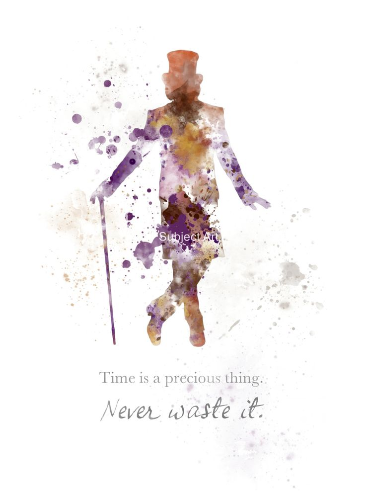 For sale direct from the artist   Original Art Print Willy Wonka Quote illustration created with Mixed Media and a Contemporary Design  Time is a precious thing. Never Waste it.  Collectable fine art print Signed and dated on the back  FRAME AND MOUNT NOT INCLUDED Watermark will not be visible on your Print   Collectable artwork currently selling worldwide Ideal Gift  Printed onto High quality 280gsm Photographic paper Packaged flat and securely to ensure safe delivery  BUY MULTIPLE PRINTS…
