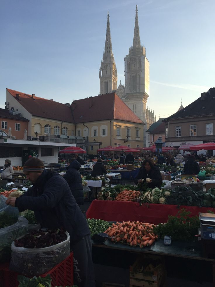 The old town of Zagreb, Croatia looking towards the cathedral beyond the main market.