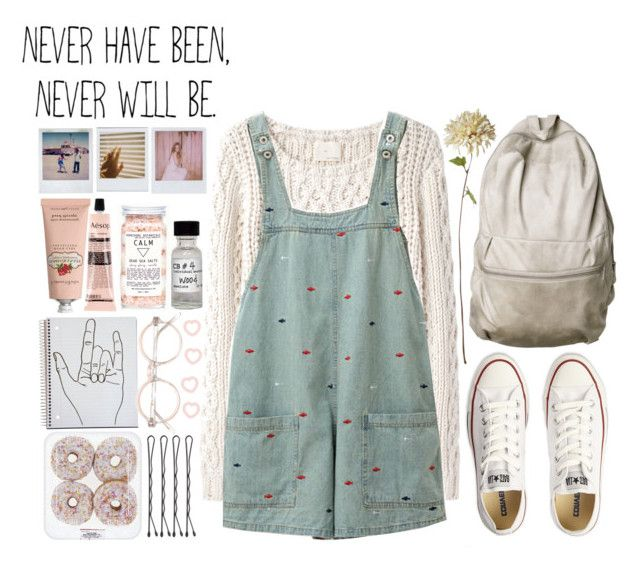 """never"" by tickling ❤ liked on Polyvore featuring Band of Outsiders, Converse, Polaroid, Crabtree & Evelyn and Aesop"