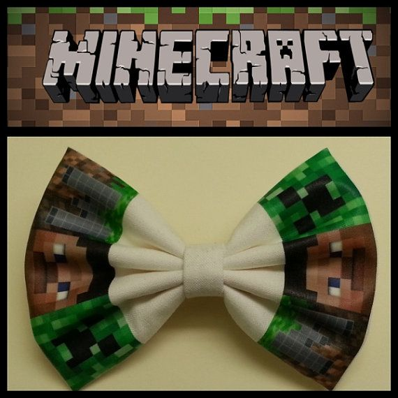 Minecraft style creeper steve Hair Bow Alligator by MyStyleBow, $6.99