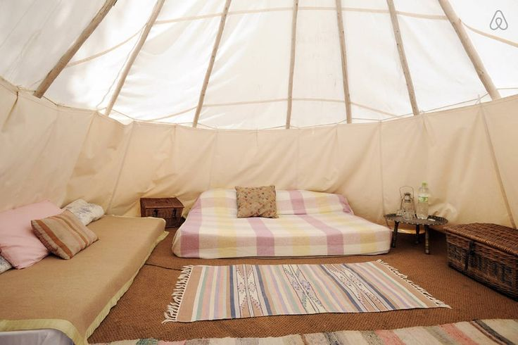 The tipi can sleep up to five with comfort, this set up was for a family of three