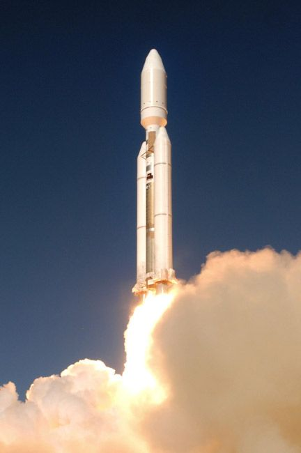The last Titan rocket, a Titan lofts a classified payload for the National  Reconnaissance Office from California's Vandenberg Air Force Base on  October