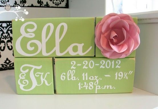 Girly Baby blocks ~ so sweet  Could easily do for a little boy too!