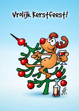 Rudolf het rendier met de rode neus (© Ernest van Hout, Cardvibes.com - Tekenaartje.nl) #Sendasmile #Kerstkaart #Kerstmis #Kerst
