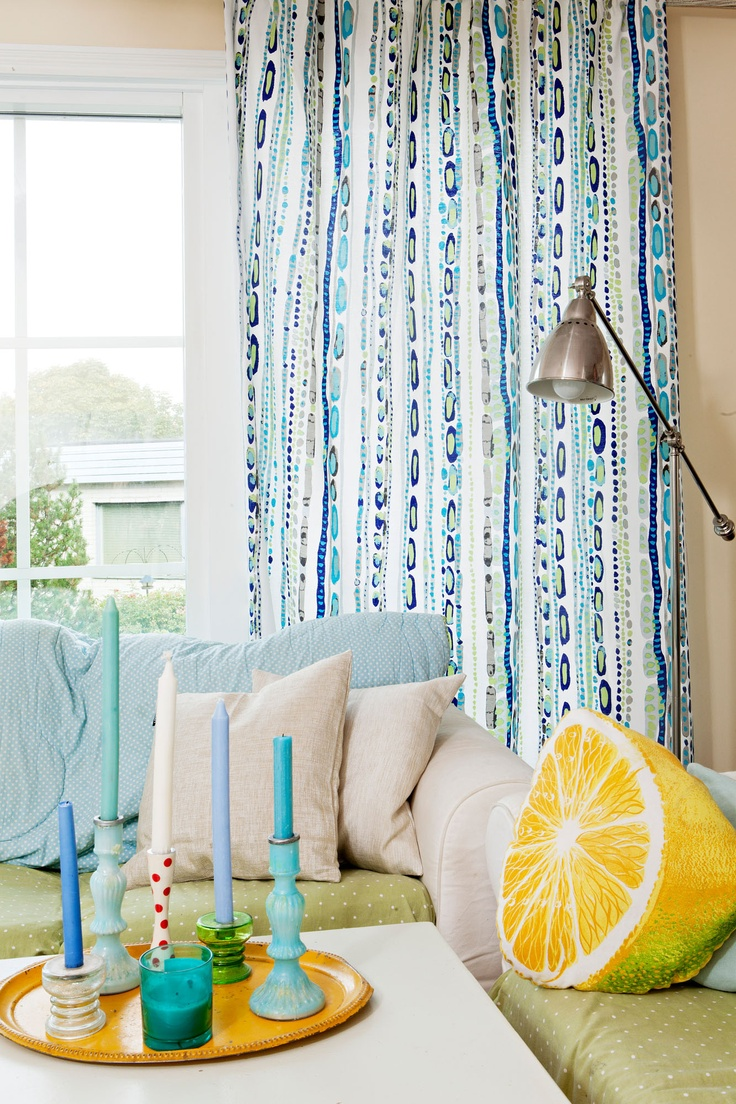 Now in Australia, www.avaradesigns.com Timi curtain blue 2 by Matleena Issakainen   Cotton 83%, polyester 17%