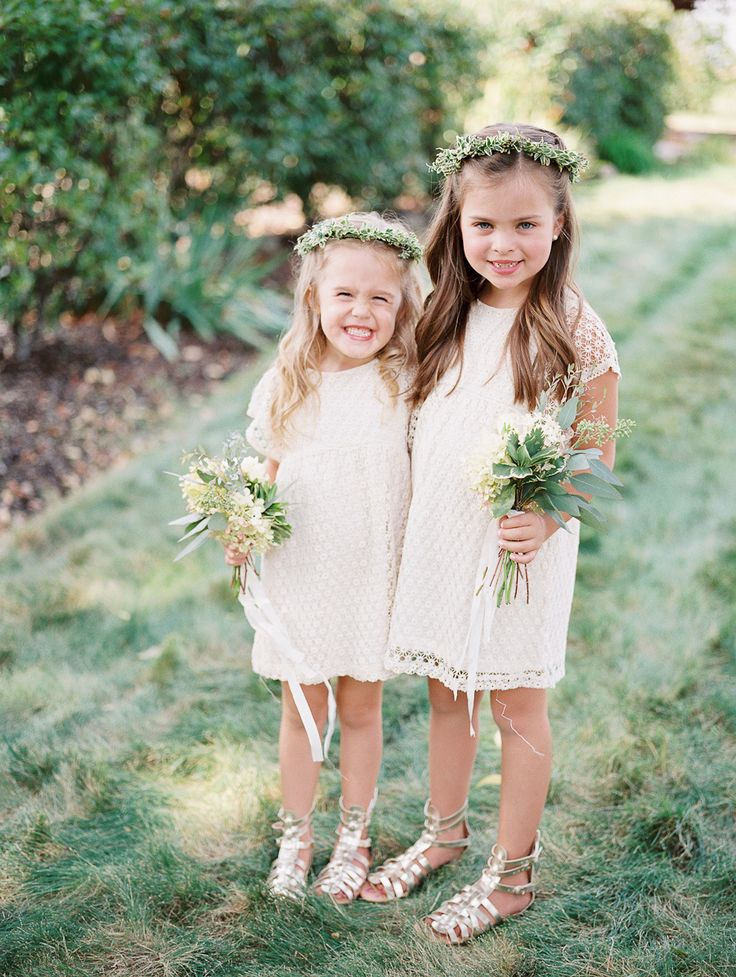 Adorable flower girls in all white: http://www.stylemepretty.com/2016/06/20/steal-the-look-morgan-stewarts-glam-all-white-wedding/