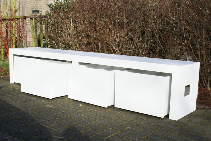 """LISS bank with four rollbins, 265x50x50. """"HANS"""" made by www.hansknepper.nl"""