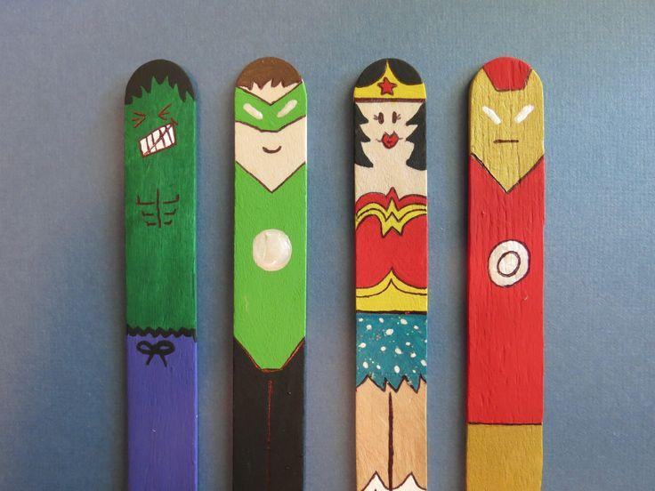 DIY- Superhero Bookmarks.  I'm SO making the iron man one!!!