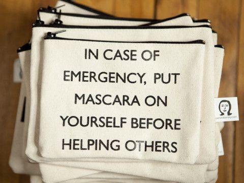 Hahahahaha. Funny stuff:) But adorable make-up bag:)