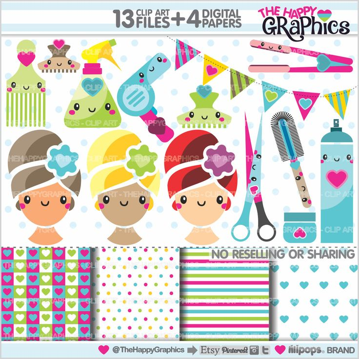Salon Clipart, Spa Clipart, Salon Graphics, Hair Dresser Clipart, Salon Party, Hair Style, COMMERCIAL USE, Kawaii, Planner Accessories