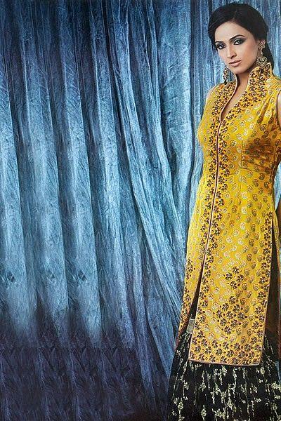 Amber banarsi jamawar front split shirt and banarsi jamawar gharara.