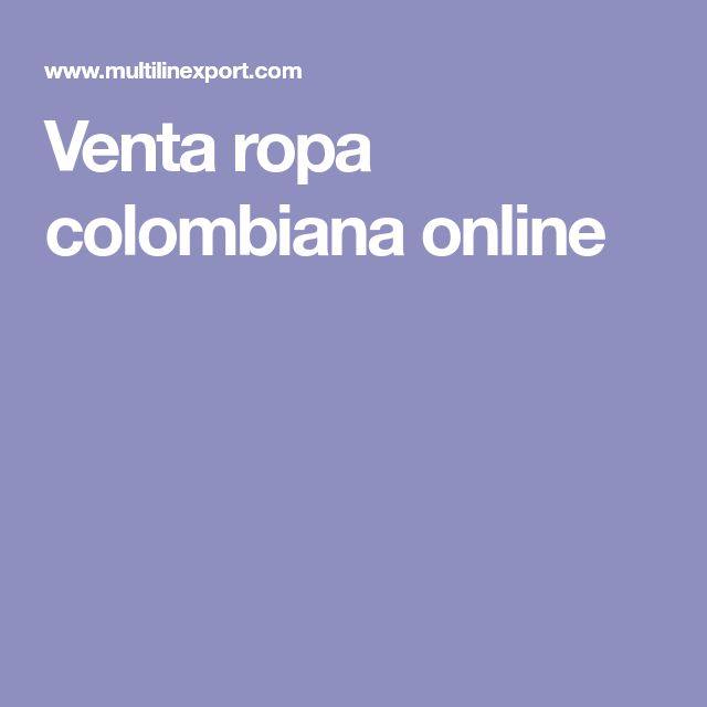 Venta ropa colombiana online