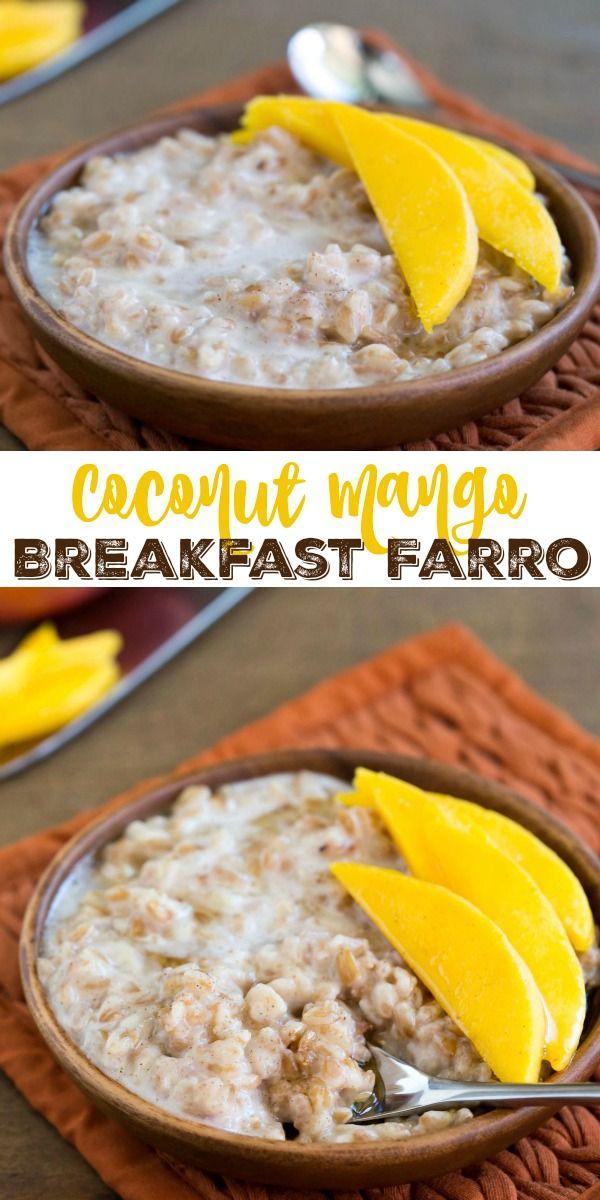 Coconut Mango Breakfast Farro Recipe #VillageHarvestInspired AD