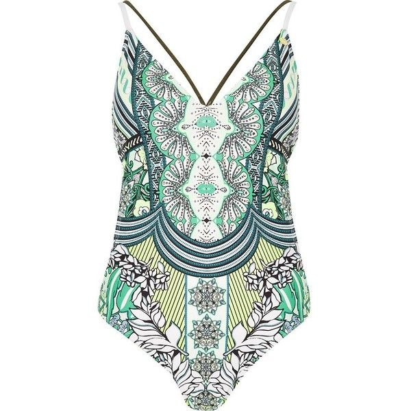 River Island RI Resort green print swimsuit (90 CAD) found on Polyvore featuring women's fashion, swimwear, one-piece swimsuits, bathing suit, swimsuits, bikini, green, swimwear / beachwear, women and one piece swimsuit