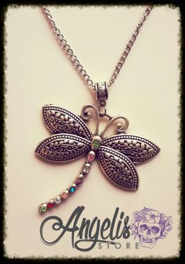 Dragon Fly with Swarovski Crystals Necklace