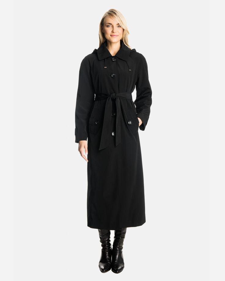 Sophia Long Raincoat with Detachable Hood & Liner