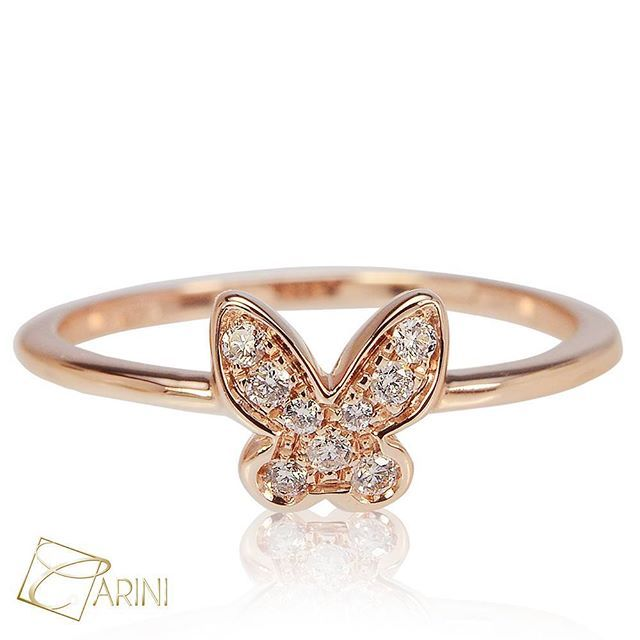Style in simplicity!  Rose gold ring in 18 k  with diamond butterfly, ct 0.10 VS-SI G € 484 #carinigioielli #handmadejewelry #fashionjewelry #accessories #jewelry #instajewelry #etsyseller #fashionista #outfit #stylish #jewelrydesign #jewelrygram #handmade #gemstonejewelry #statementjewelry #engaged #trendy #jewelrylover #jewelryaddict #ideeregalo