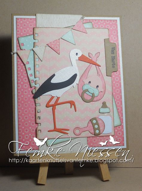 Made by Femke Niessen: Baby tab card. The materials I have used, you can find on my blog.