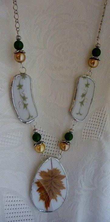 Broken China JewelryBroken China NecklaceOOAK by DLTrinkets, $55.00