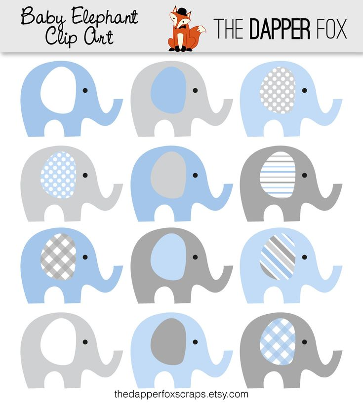 Blue And Grey Elephant Clip Art   INSTANT DOWNLOAD   Baby Boy Baby Shower  Clipart Elephants