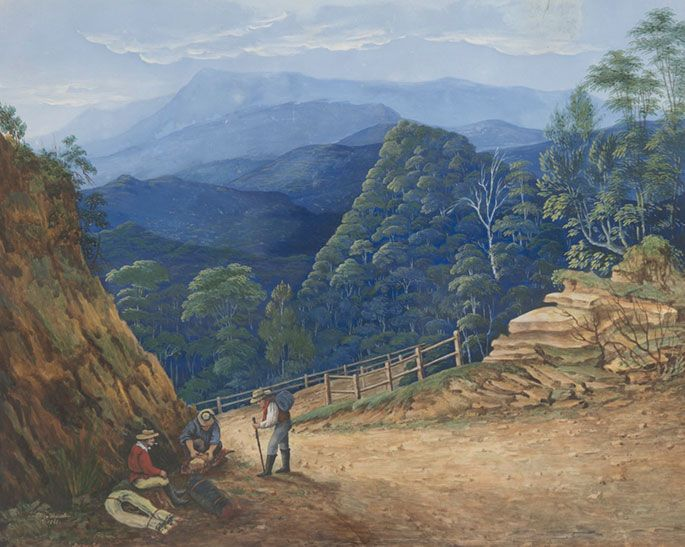 Victoria Pass, Blue Mountains by Eliza Thurston, 1861. In 1813, Gregory Blaxland, William Charles Wentworth and William Lawson became the first European settlers to successfully navigate a path across the Blue Mountains.