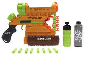 nerf zombie strike blaster biosquad - this Zombie Strike blaster shoots darts, foam, or water. This thing is bananas!