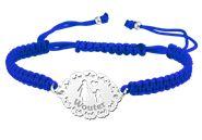 Zilveren moeder armband shamballa blauw - zoon/ names4ever.nl