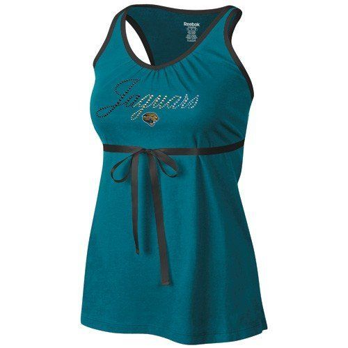 NFL Reebok Jacksonville Jaguars Ladies Teal Field Flirt Premium Tank Top by Reebok. $18.95. Officially licensed by NFL. 60% cotton 40% modal. Racerback with satin ribbon cross. Jeweled & rhinestone lettering. Ruching at neckline. Ladies, add some feminine appeal to your game day gear with this flattering Field Flirt tunic length tank top by Reebok! It features a three-toned jeweled and rhinestone team name across the chest, a ribbon accent that crosses at the back and ties in a ...