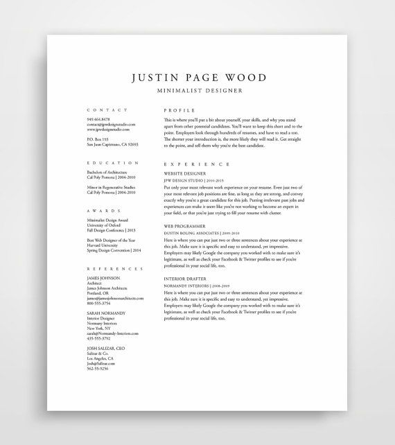 classical professional resume template with a two column format designed in both microsoft word - Simple Professional Resume