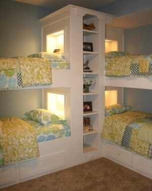 Love this idea..Guest Room, Lakes House, Beach House, Bunk Beds, Kids Room, Bedrooms, Bunkroom, Bunk Room, Bunkbeds