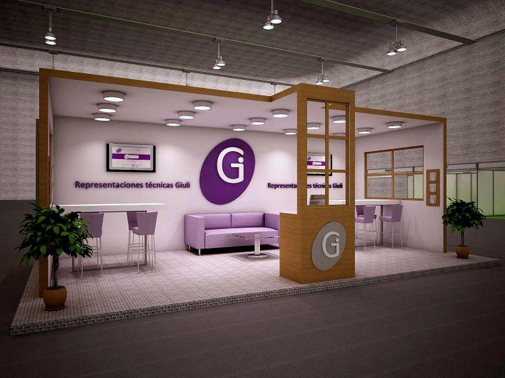 Proyecto de stand, abierto por el frente con zona de recepción, de atención rápida, de reunión. Evento expositivo Matelec