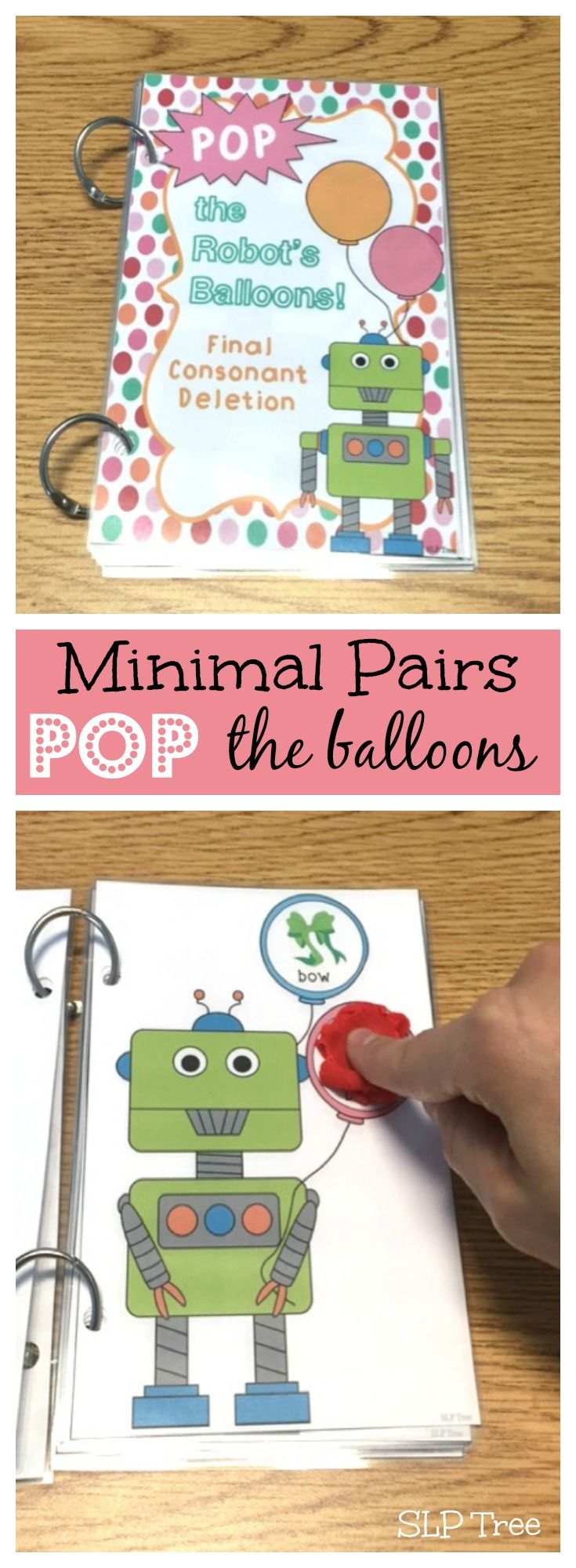 """Five books to work on auditory discrimination and/or reduction of phonological processes by """"popping"""" minimal pairs balloons. Laminate and smash balls of play dough or dot with a dry erase marker for an interactive activity."""