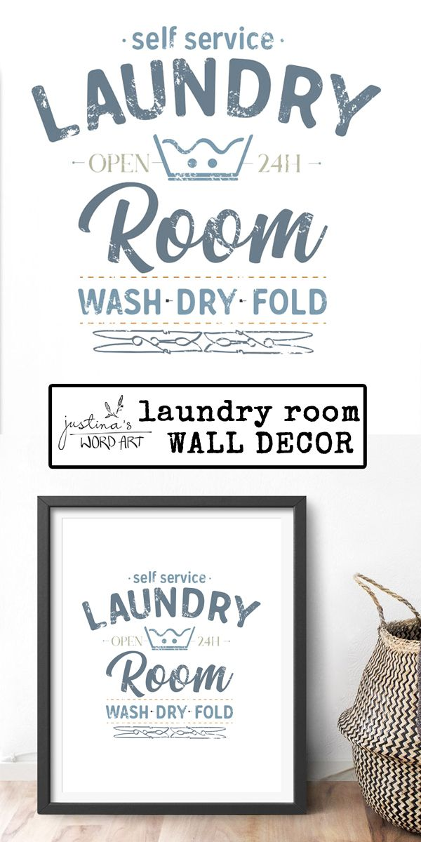 Self Service Laundry Room Wash Dry Fold Funny Vintage Printable
