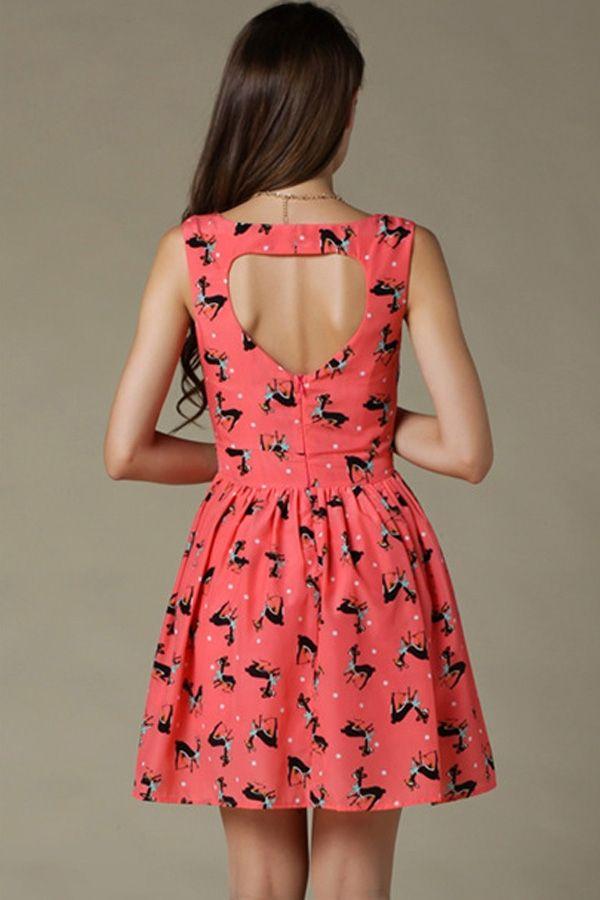 Cutout Animal Print Dress - OASAP.com